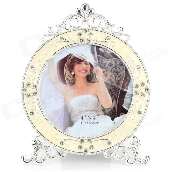 D5055TW Round Shaped Rhinestone Inlaid Photo Frame - White + Silver