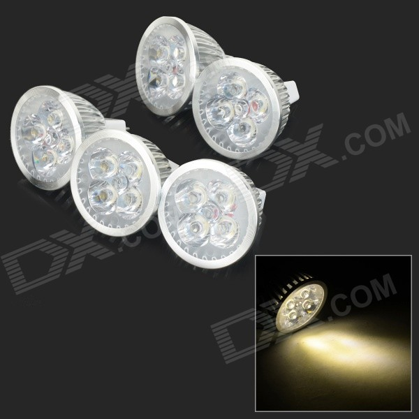 JRLED MR16 4W 370lm 3300K 4-LED Warm White Light Spotlights - Silver + White (5 PCS / DC 12V)