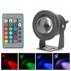 JRLED JRLED-10W-RGB Waterproof 10W 400lm 1-LED RGB Stage Light Spotlight - Black (AC 85~265V)