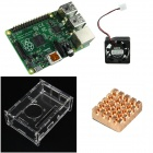4-in-1 Rev 3.0 512MB ARM Raspberry Pi Project Board Model B+ and Acrylic Case + Fan + Heatsink