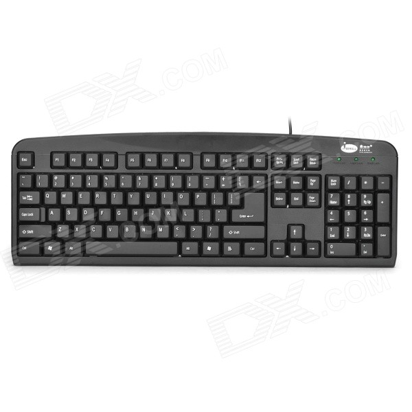 Jberall JK-2021 USB 2.0 Wired 104-Key Ergonomic Keyboard - Black