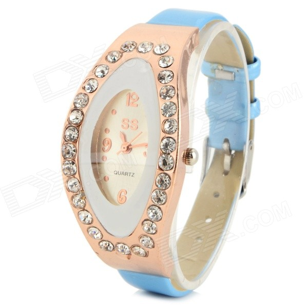 Women's Elegant PU Band Rhinestone Inlaid Analog Quartz Watch - Light Blue + Golden (1 x 626) women s stylish rhinestone inlaid pu leather band analog quartz wrist watch pink 1 x 626