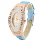 Women's Elegant PU Band Rhinestone Inlaid Analog Quartz Watch - Light Blue + Golden (1 x 626)
