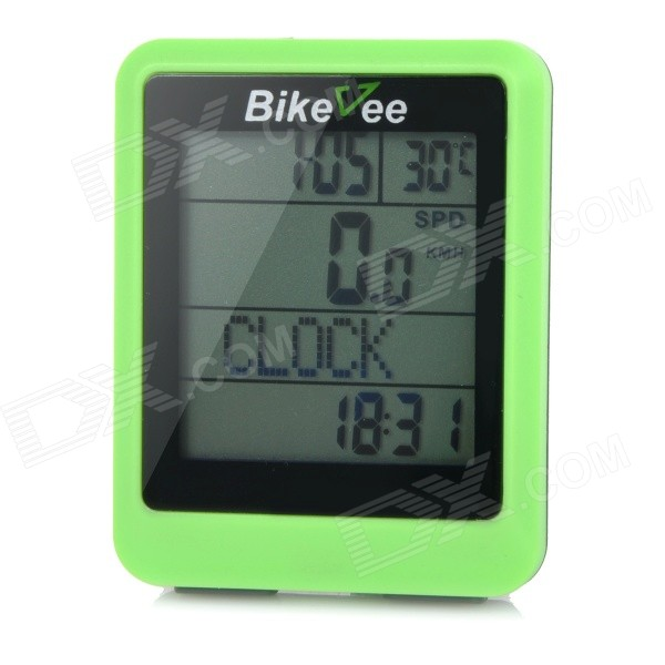 Bikevee Water Resistant 20-Function 1.6 Screen Wired Electronic Bike Computer - Green (1 x CR2032) bikevee bkv 6000 2 2 display screen bike computer silver 1 x cr2032