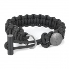 EDCGEAR 3-in-1 Outdoor Survival Parachute Cord Rope Bracelet w/ Ferrocerium Rod/Hidden Knife - Black