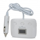 1-to-3 Triple-USB Car Cigarette Lighter Power Adapter Converter w/ Independent Switch - White