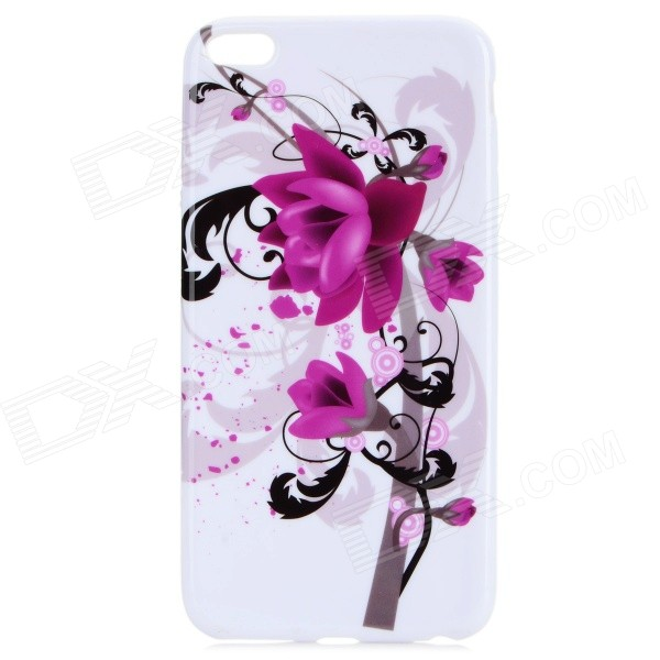 Flower Pattern Protective TPU Back Case for IPHONE 6 PLUS 5.5 - Purple + White ultrathin flower pattern tpu material back case for iphone 6 4 7 inches