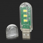 USB Powered Portable 2.3W 3-LED White Lamp - Green