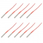 YW 220V 250W Stainless Steel + Insulator Heating Tubes - Silver + Red (10 PCS)