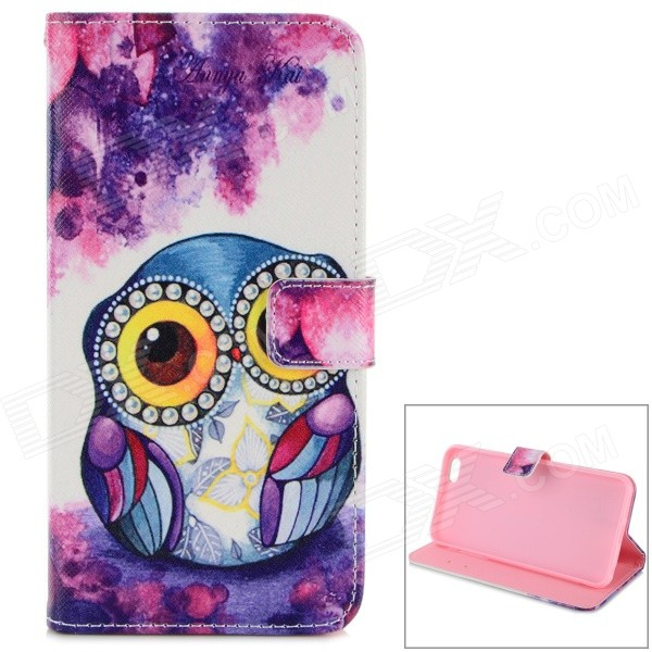 Owl Pattern Stylish TPU + PU Flip Open Case w/ Card Slots for IPHONE 6 5.5 - White + Purple solid color litchi pattern wallet style front buckle flip pu leather case with card slots for doogee x10