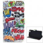 Graffiti-Muster Schutz TPU + PU Flip Open Case w / Card Slots für iPhone 6 PLUS 5.5 ""
