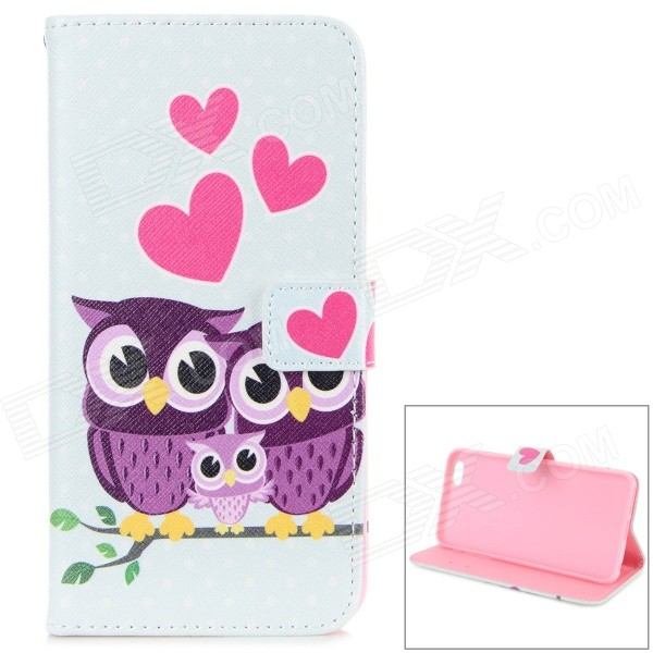 Cute Owls Pattern Stylish Flip Open TPU + PU Case w/ Stand / Card Slots for IPHONE 6 PLUS 5.5 cute cartoon pattern pu tpu flip open case w stand card slots for htc one2 m8 black grey
