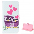 Cute Owls Pattern Stylish Flip Open TPU + PU Case w/ Stand / Card Slots for IPHONE 6 PLUS 5.5""