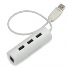 UGreen 20267 USB 2.0 Wired 100Mbps Network Card Adapter w/ 3-Port USB Hub - White