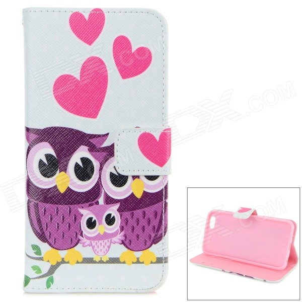 Heart and Owl Pattern TPU + PU Case w/ Card Slot for IPHONE 6 4.7 - White + Purple cute owl pattern tpu back case for iphone 6 plus 5 5 yellow orange multi color