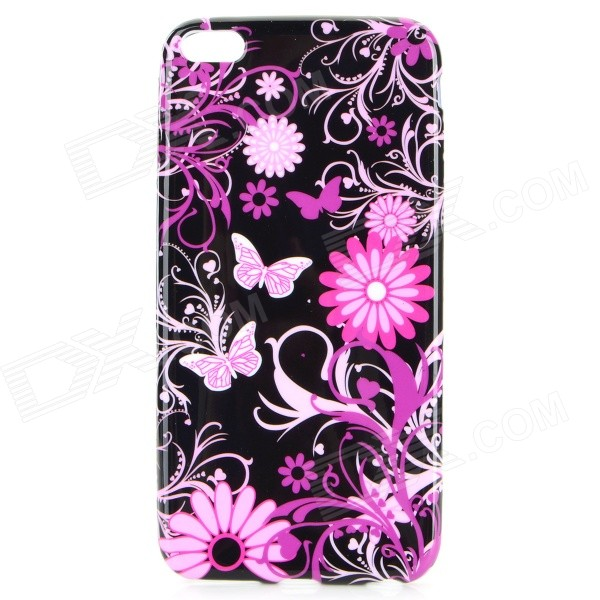 Butterfly & Flower Pattern TPU Back Case for IPHONE 6 PLUS - Black ultrathin flower pattern tpu material back case for iphone 6 4 7 inches