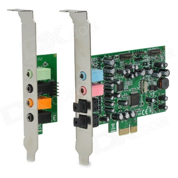 Desktop 8-Channel Hi-Fi 48KHz PCI-Express Sound Card - Green + Black модуль памяти so dimm ddr4 4gb pc17000 2133mhz patriot psd44g213381s