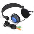 VoiceAo VA-3700 3.5mm Wired Stereo Headband Headphones w/ Microphone - Black + Blue