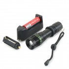 UltraFire 600lm 3-Mode White Zooming Flashlight w/ CREE XM-L T6 - Black (1 x 18650 / 3 x AAA)