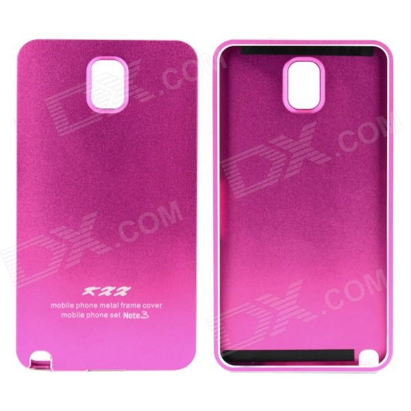 Metal Wire Drawing Titanium Alloy Bumper Frame w/ Back Cover for Samsung Galaxy Note 3 - Deep Pink