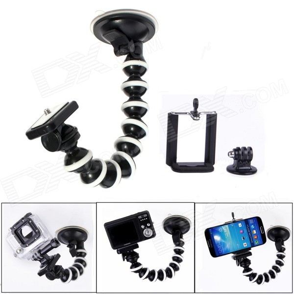 JUSTONE Car Suction Cup Mount + Adapter + Phone Holder Set for SJ4000 / GoPro Hero 4 - Black + White justone 360 degree rotational 1 4 car suction cup mount holder w adapter for gopro hero 4 more