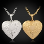 U7 P197 Fashionable Heart Shaped Gold Plated Photo Case Pendant Chain Necklace - Golden