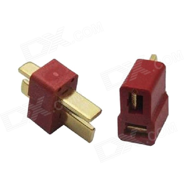 T-Type Male + Female T-Plug Set for ESC Battery Motor Model - Red (2 PCS)