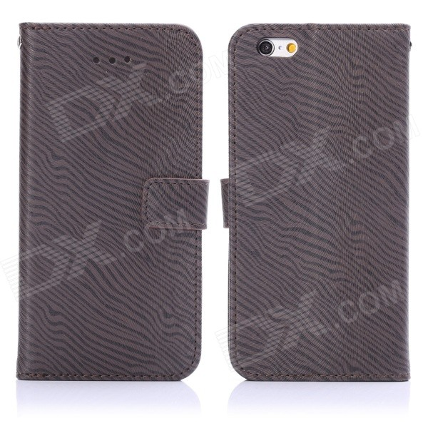 ENKAY Zebra-stripe Pattern Protective Case w/ Stand and Card Slots for IPHONE 6 4.7 - Deep Grey fashion letters and zebra pattern removeable wall stickers for bedroom decor