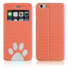"ENKAY Footprint Pattern Protective PU Leather Case w/ Stand for IPHONE 6 4.7"" - Orange"