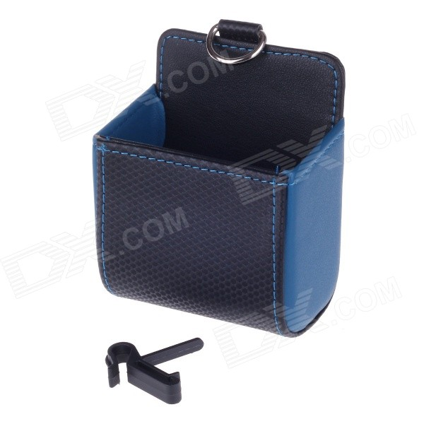 Carbon Fiber Pattern Microfiber Leather Hanging Storage Bag - Black + Blue