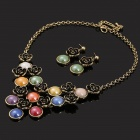 SAPREAL JT1018 Women's Artificial Gems + Rose Style Zinc Alloy Necklace + Earrings Set - Multicolor