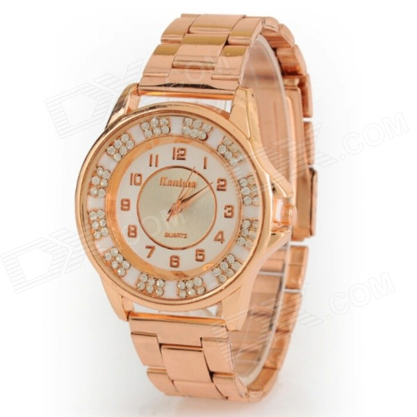 Women's Fashionable Stainless Steel Band Analog Quartz Wrist Watch - Rose Gold (1 x AG4)