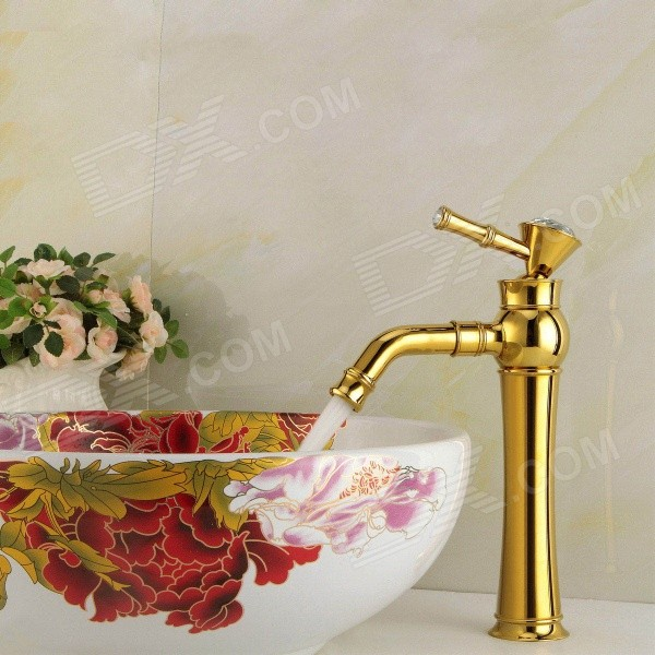 YDL-F-0587 Rhinestone-studded Handle Gold-plated Brass Bathroom Sink Faucet - Gold + White