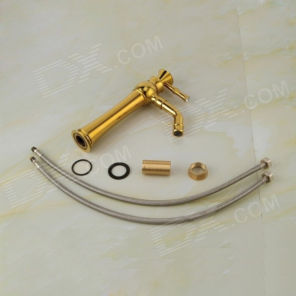 Ydl F 0587 Rhinestone Studded Handle Gold Plated Brass Bathroom Sink Faucet Gold White