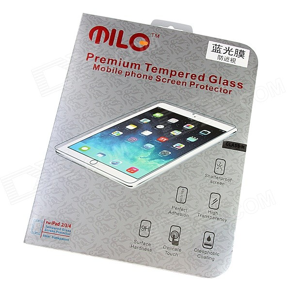 MILO Professional Blue Ray Anti-myopia Tempered Glass 0.4mm Screen Protector for IPAD 2 / 3 / 4