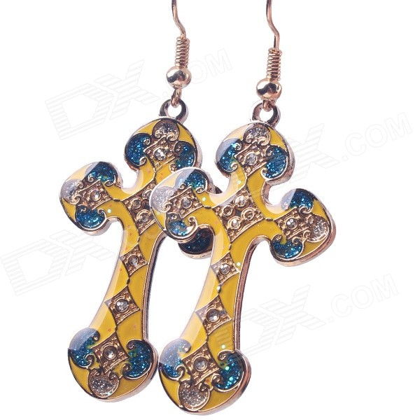 цена  G.E RIMON Cloisonne Retro Cross Copper Enamel Earrings - Yellow (Pair)  онлайн в 2017 году