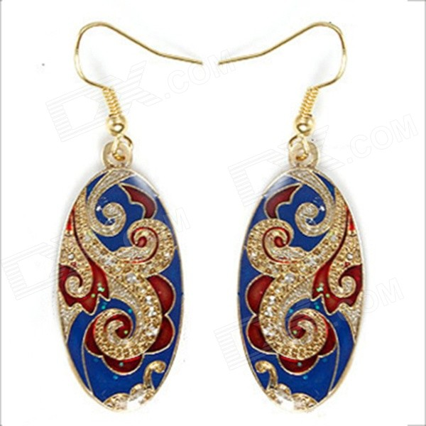 G.E RIMON JTL007BL Elliptic Cloisonne Enamel Style Earrings Eardrops - Blue + Golden + Red (1 Pair)
