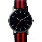 Unisex Stylish Colorful Canvas Band Quartz Analog Wrist Watch - Black + Red