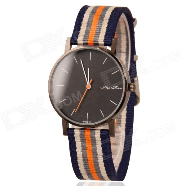 Unisex Stylish Colorful Canvas Band Analog Quartz Wrist Watch - Blue + Orange + Multicolored