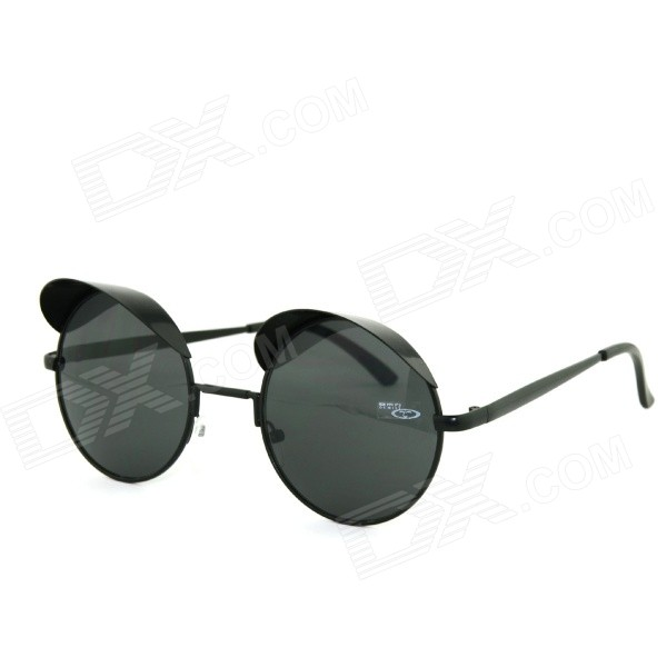 OUMILY Retro UV400 Round Sunglasses - Black + Grey