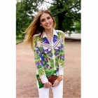 Fashion Lady's Long Sleeve Blouse Casual Shirt - White + Green + Multicolored (M)