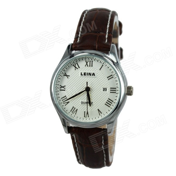 Women's Business Style Roman Numerals Analog PU Leather Band Quartz Wrist Watch - Brown (1 x 377)