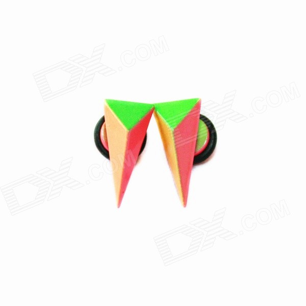 Unisex Double-sided Colorful Cone Stud Earrings - Orange + Green (2 PCS)