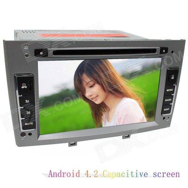 LsqSTAR 7 Capacitive Screen Android4.2 Car DVD Player w/ GPS WiFi BT AUX for Peugeot 408/308/308SW lsqstar 7 capacitive 1din android 4 2 car dvd player w gps wifi fm am ipod swc bt for hyundai hb20