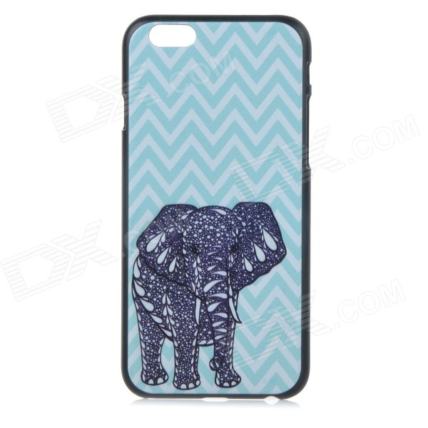 Basso-relievo Elephant Pattern Protective Plastic Back Case for IPHONE 6 4.7 - Black + Sky Blue wall hanging art decor sunshine floral print tapestry