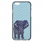 "Basso-relievo Elephant Pattern Protective Plastic Back Case for IPHONE 6 4.7"" - Black + Sky Blue"