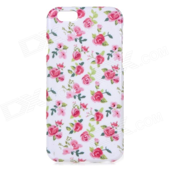 Rose Pattern Protective TPU Back Case for IPHONE 6 4.7 - White + Pink + Multi-Color ultra thin embossed flower pattern protective tpu back case for iphone 5 5s white light pink