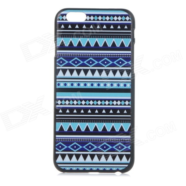 "Geometric Pattern Basso-relievo Protective Plastic Back Case for IPHONE 6 4.7"" - Black + Blue"