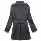 STBB-00575 Women's Trendy Medium Style Wool Coat - Deep Grey (Size L)