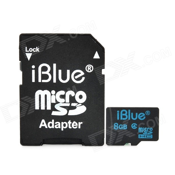 iBlue Micro SDHC Memory Flash Card w/ TF to SD Card Adapter - Black (8GB / Class 4) patriot memory high quality c4 32gb micro sdhc tf memory card with card adapter black